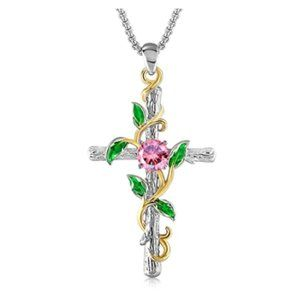 14K White Gold Plated Cross Necklace